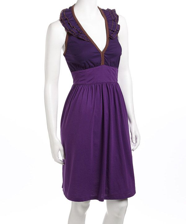 Take a look at this Meadow Violet Halter Dress on zulily today!