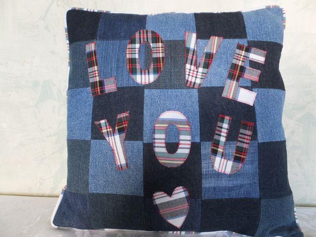 Denim appliqued cushion