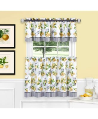 Lemon Drop Tier And Valance Window Curtain Set 58x36
