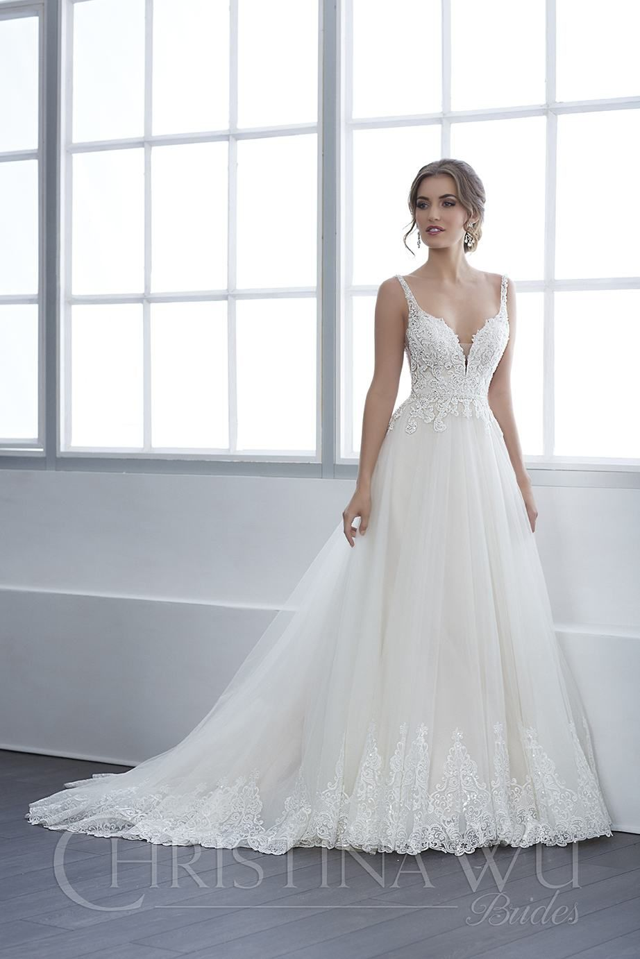 A Plunging Neckline And Sheer Side Panels Add A Perfect Update To This Flattering A Line Shape Beaut Backless Wedding Dress Wedding Dresses Ball Gowns Wedding