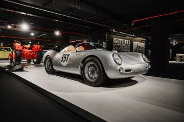 Porsche 550 Spyder. Legendary first Porsche racing car. Vintage racing car on cars exhibition. Classic Car exhibition – Heydar Aliyev Center, Baku, Azerbaijan – 26,04,2017 – Buy this stock photo and explore similar images at Adobe Stock