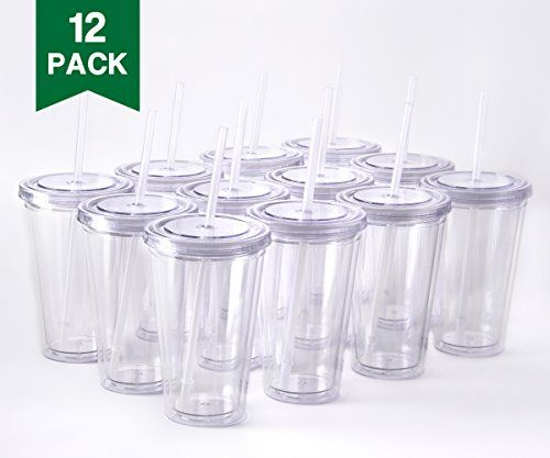 16oz Clear Double Wall Acrylic Tumbler Cup with Lid & Straw BPA Free 10 Pack | eBay