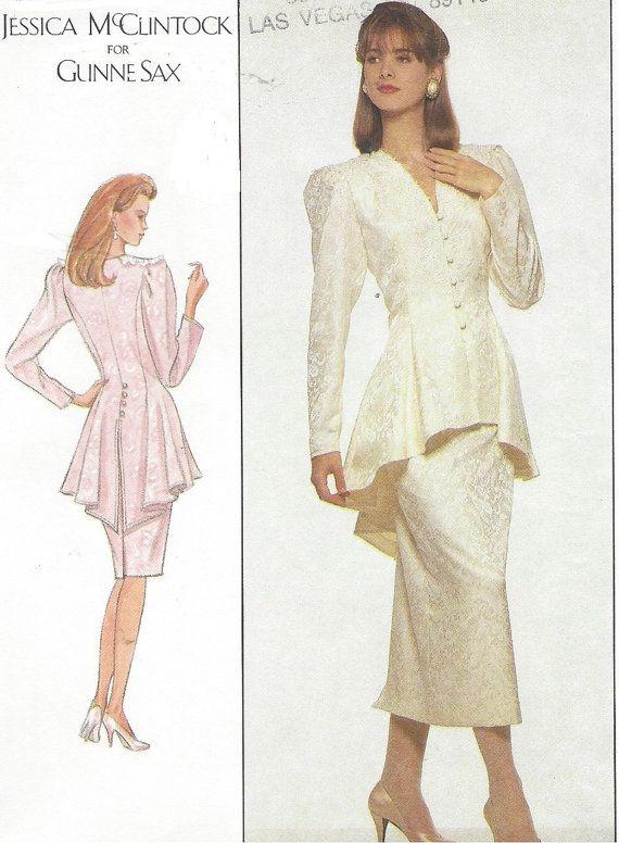 80s Jessica McClintock Gunne Sax Womens Peplum Top & Skirt ...