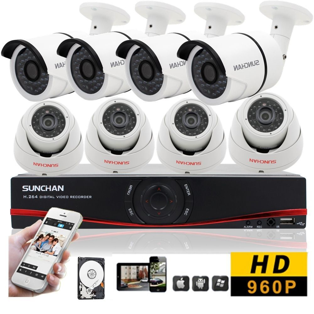 8CH Home Security CCTV Kits 960P Indoor Outdoor 1080N HDMI DVR 8 ...