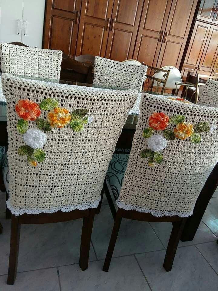 CAPA E CADEIRA Mais | Para las sillas respaldos | Pinterest | Tejido ...