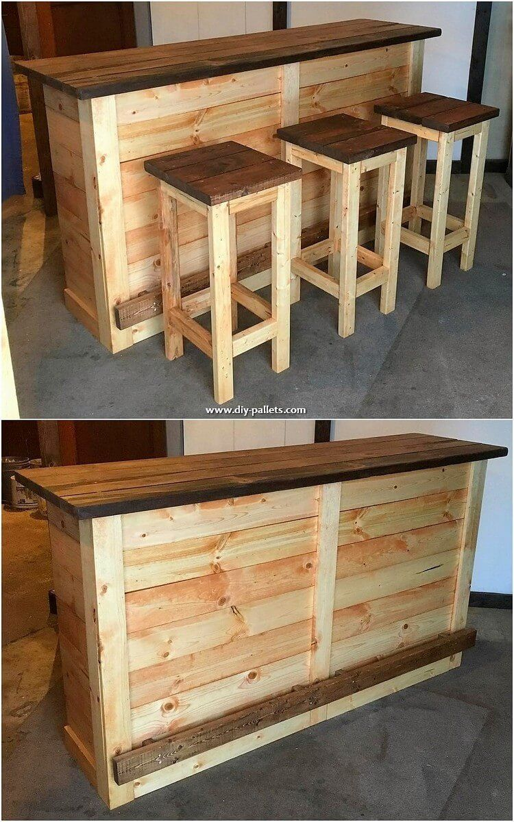 Pallet Tables This Is The Giant In Structure Wood Pallet Counter Table And Stools Th Meubles En Bois De Palettes Projets En Bois De Palette Projets De Mobilier