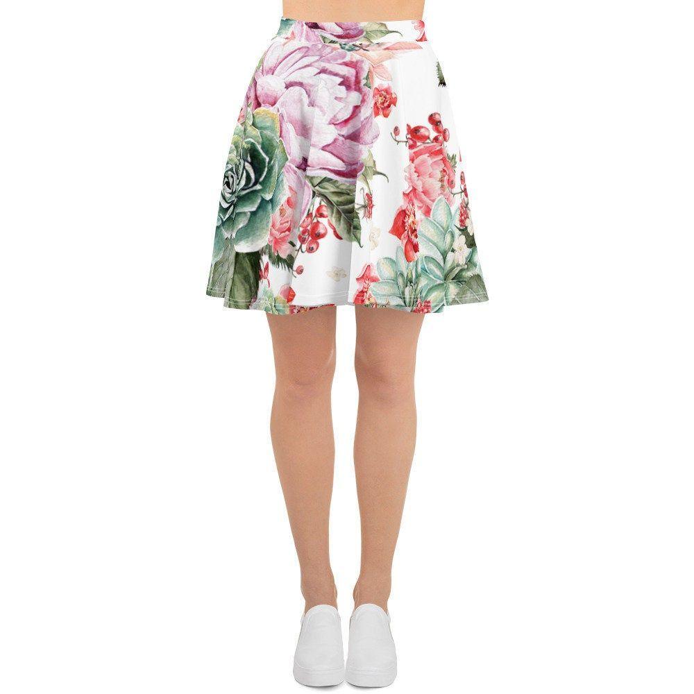 XS-3XL Size Circle Skirt Womens Skater Skirt Bohemian Hippie Clothing Custom All Over Print Skirt Roses Flowers Floral Skirt