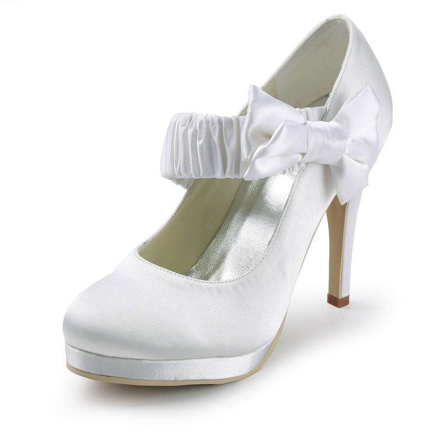 Fancy 4 Inch Elastic Strap Bowknot Almond Toe Mary Jane Wedding Shoes