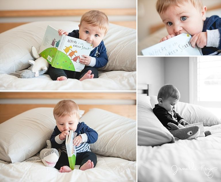 6 month baby photography inhome lifestyle photo session baby reading the book where is the green sheep
