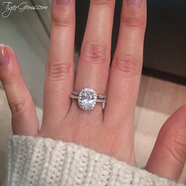 """Absolutely beautiful!""  Thank you so much to our client for this review and photo of her 1.5 ctw oval halo ring with the art deco band. ━━ Shop Now at TigerGems.com"