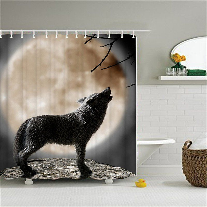 Moon Howling Wolf Shower Curtain Wildlife Bathroom Shower