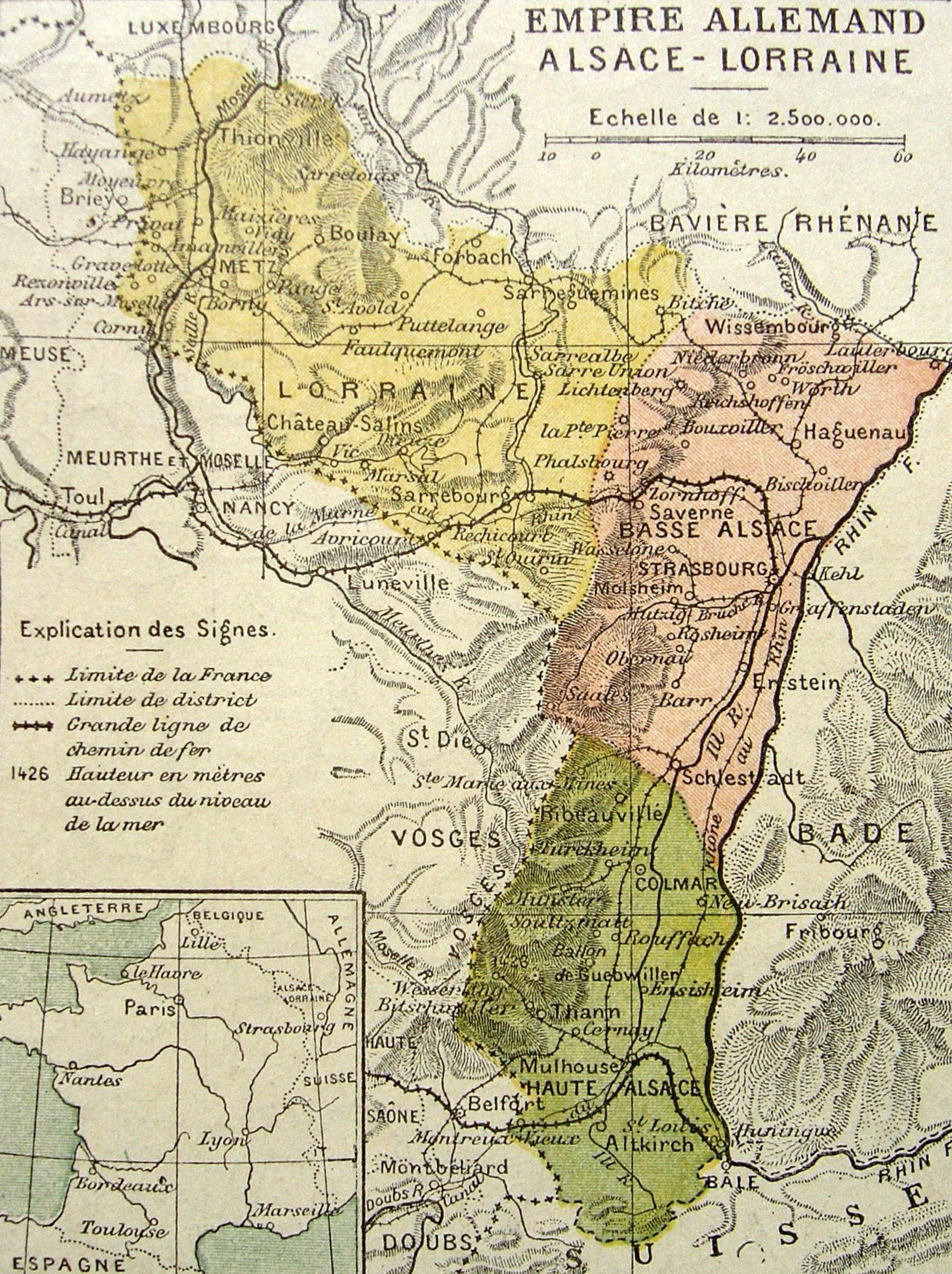 Carte Lalsace.Carte De L Alsace Lorraine En 1914 Historical Maps Alsacia Mapa