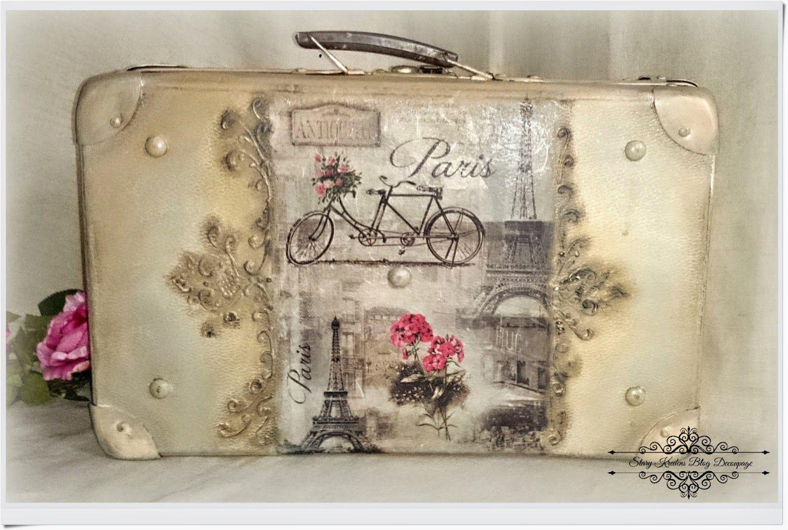 Stara walizka w starofrancuskim klimacie - Paryż wśród reliefów - Decoupage.