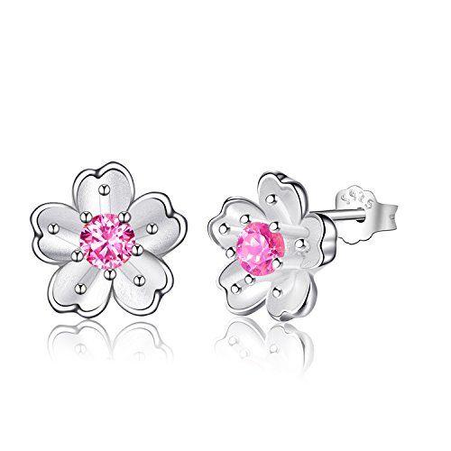 Femmes Fleur de Cristal Plaqué Argent 925 Ear Stud Boucle d/'Oreille Femme Fashion Jewelry