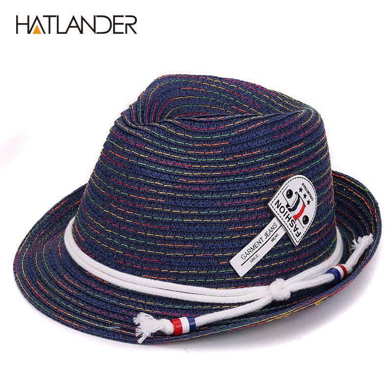 Hatlander kids sun hats newest girls boys jazz trilby caps toddler summer  hat floppy panama hat 535d2710087b
