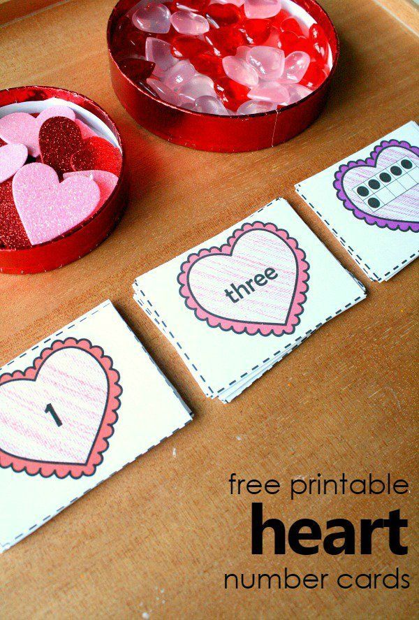 free printable heart number cards  valentine activities