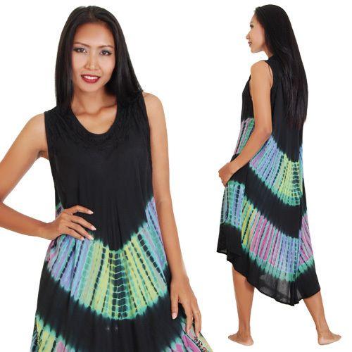 Farb- und Stilberatung mit www.farben-reich.com - Schwarz Batik Tunika Hippie Kleid von Princess of Asia auf DaWanda.com