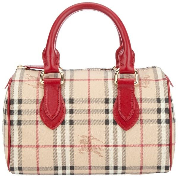 Burberry Brit Check Tote 655 Liked On Polyvore Featuring Bags Handbags Leather Purse Red And