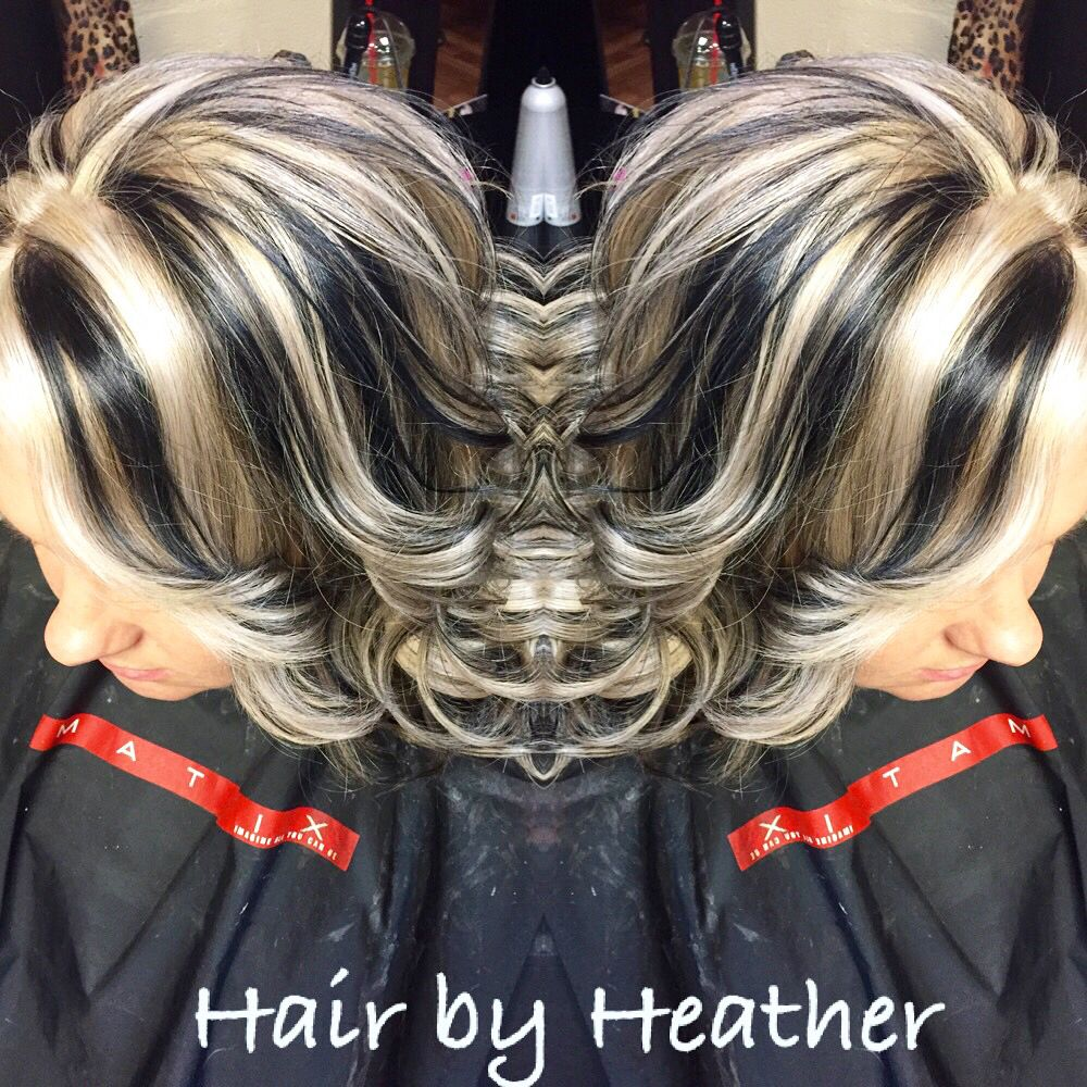 All Over Black With Chunky Platinum Blonde Highlights Hair By