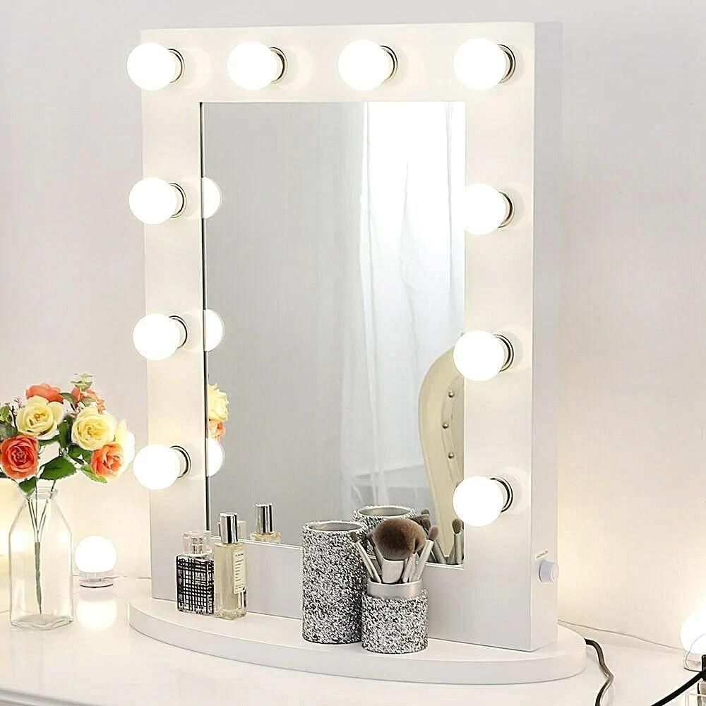 Boyel Living 22 In X 26 In Vanity Mirror With Lights For Dressing Table Hollywood Makeup Framed Mirror With Led Dimmable Bulbs White In 2020 Makeup Vanity Mirror With Lights White