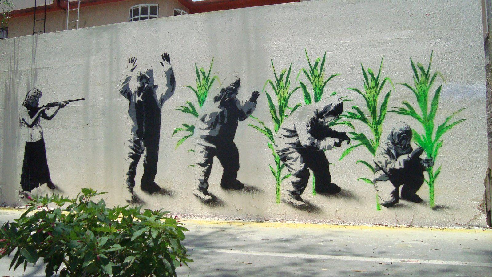cultivos transgénicos arte urbano
