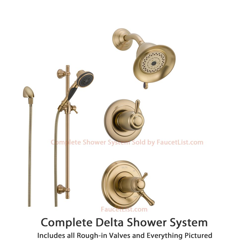 delta cassidy champagne bronze shower system with shower handle 3setting diverter showerhead and handheld shower ss17t9784cz