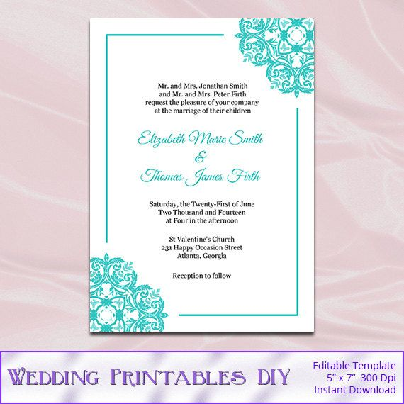 Tiffany Blue Wedding Invitations Templates - Diy Printable Invite - download free wedding invitation templates for word