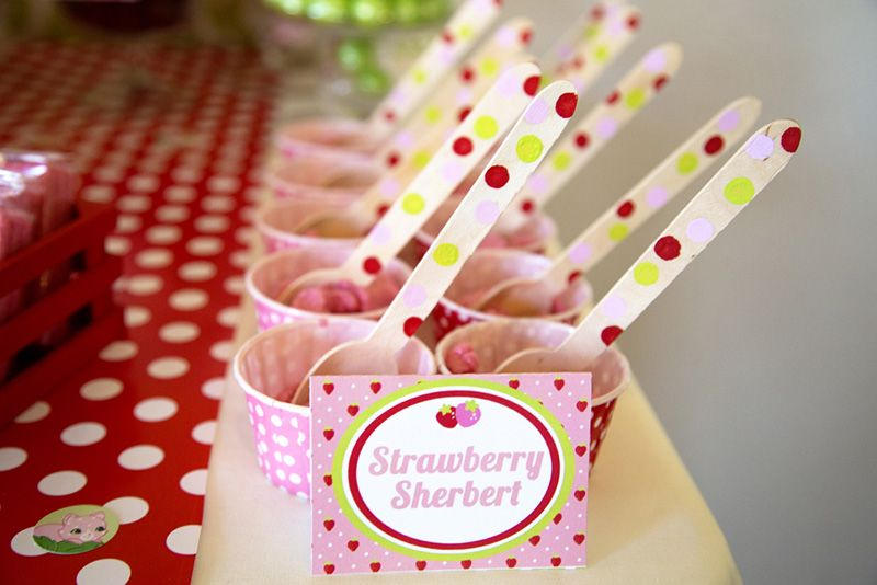 Strawberry Party with Strawberry Sherbert and solid wooden