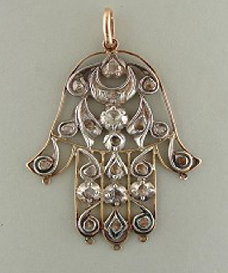Antique Bone and Brass Hand of Fatima Pendant  Amulet Hand of Fatima  Hamsa Pendant