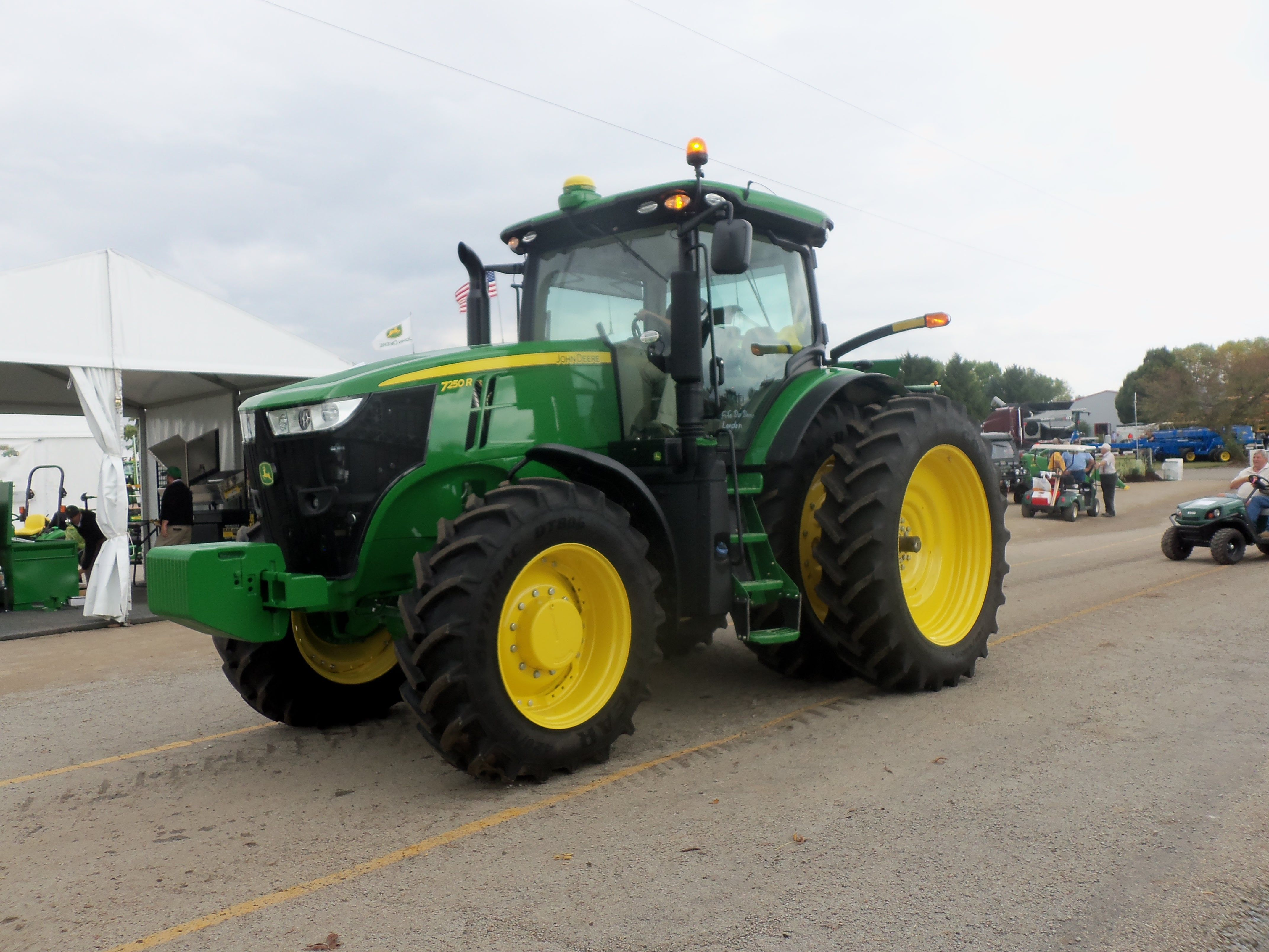John Deere tractor leaving The Farm Science Review