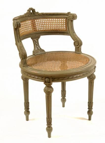 Lisette Gray Stool Cane Style French Inspired Furniture Vanity Stool French Furniture