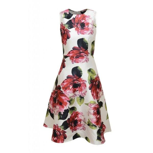 AX Paris Sleeveless Floral Printed Skater (£35) ❤ liked on Polyvore featuring dresses, clearance, cream, skater skirt dress, skater skirts, sleeveless skater dress, white floral dress and flared skater skirt