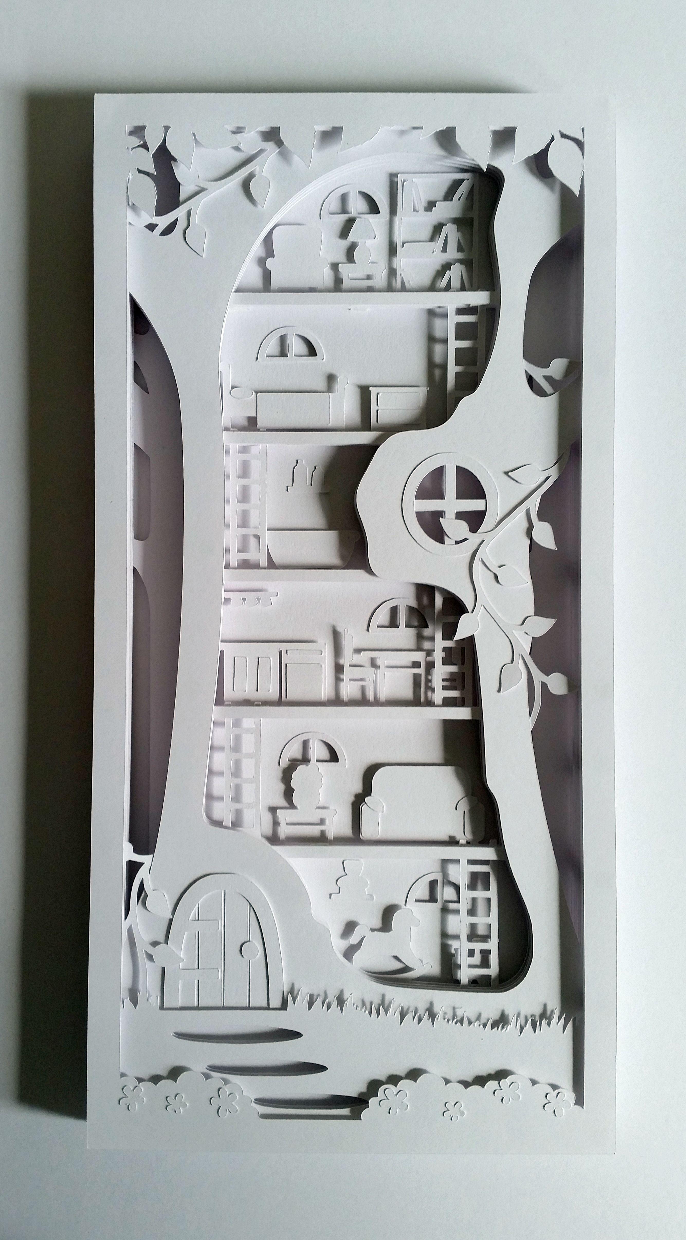 Fairy Tree House Papercut Shadow Box DIY Template Available Notjustpaperboutiquecouk