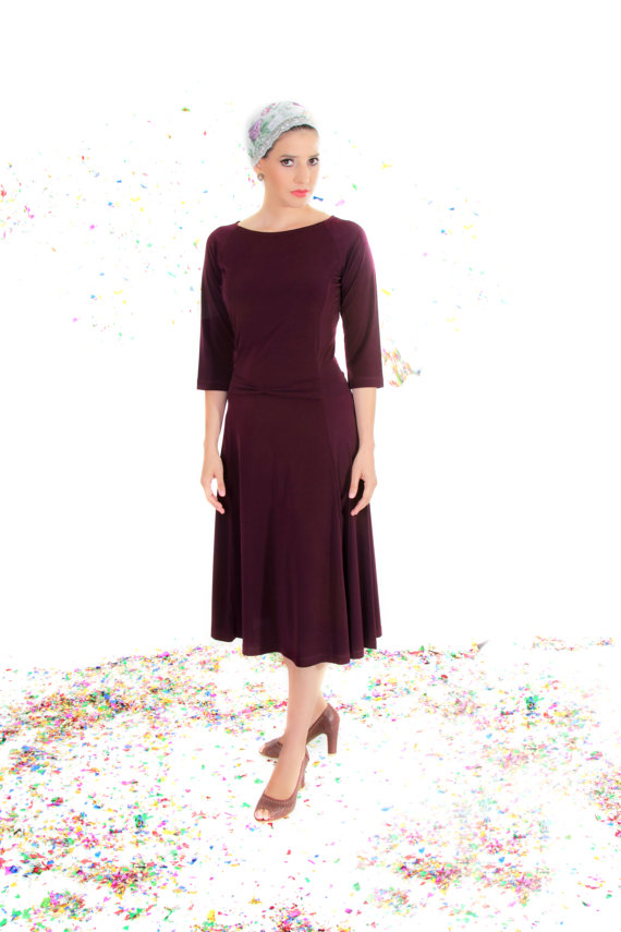 Plum modest midi dress  Dress with small bow  Dress by TAMARLANDAU