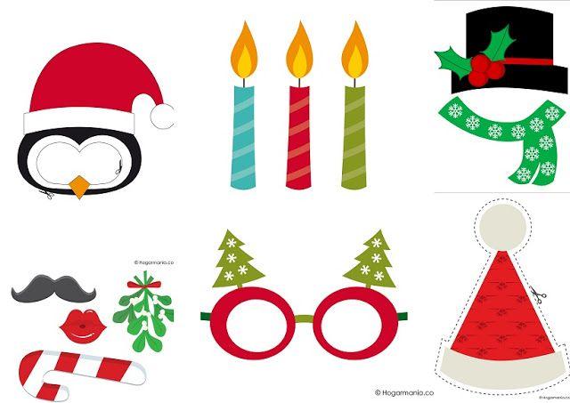 Simpáticos Complementos para Photo Booth de Navidad para Imprimir ...
