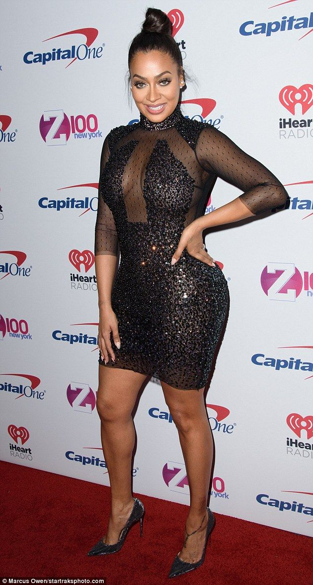 Lala anthony wows in see through beaded mini dress for jingle ball so gorgeous lala anthony stepped out on friday at z100s jingle ball wearing a skintight shimmering dress freerunsca Images