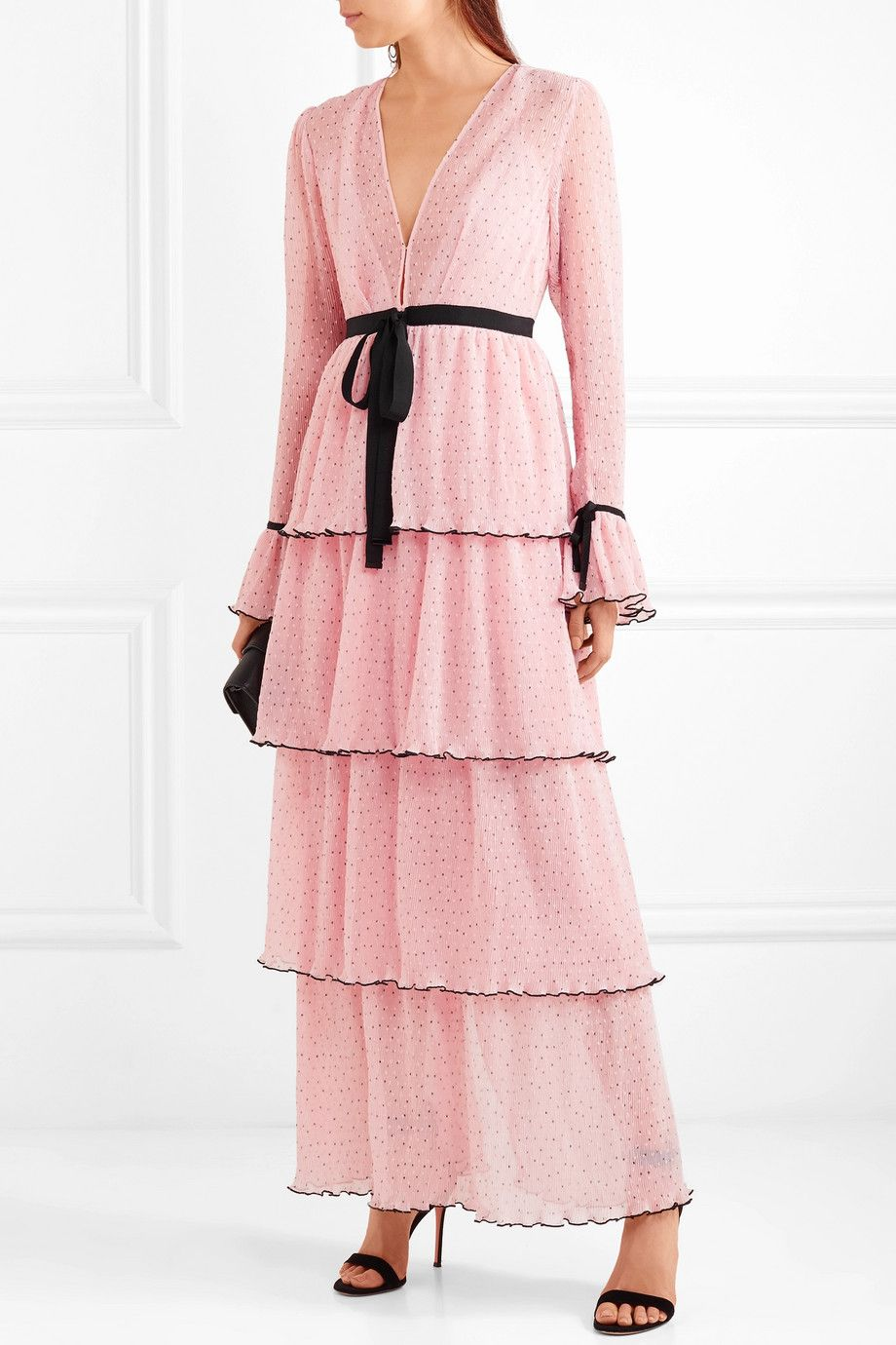 alice McCALL | Now Or Never tiered Swiss-dot chiffon maxi dress ...
