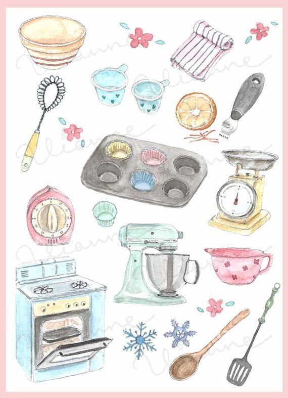 Clip Art Watercolor Vintage Baking Accessories Set 20 Images