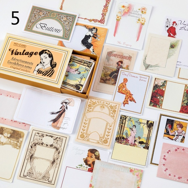 60pcs Box Vintage Multi Function Paper Sticker Decoration Diy Ablum Diary Scrapbooking Label Sticker Cute Stationery Message Note 8choices Wish Scrapbook Stickers School Stickers Kawaii Stationery
