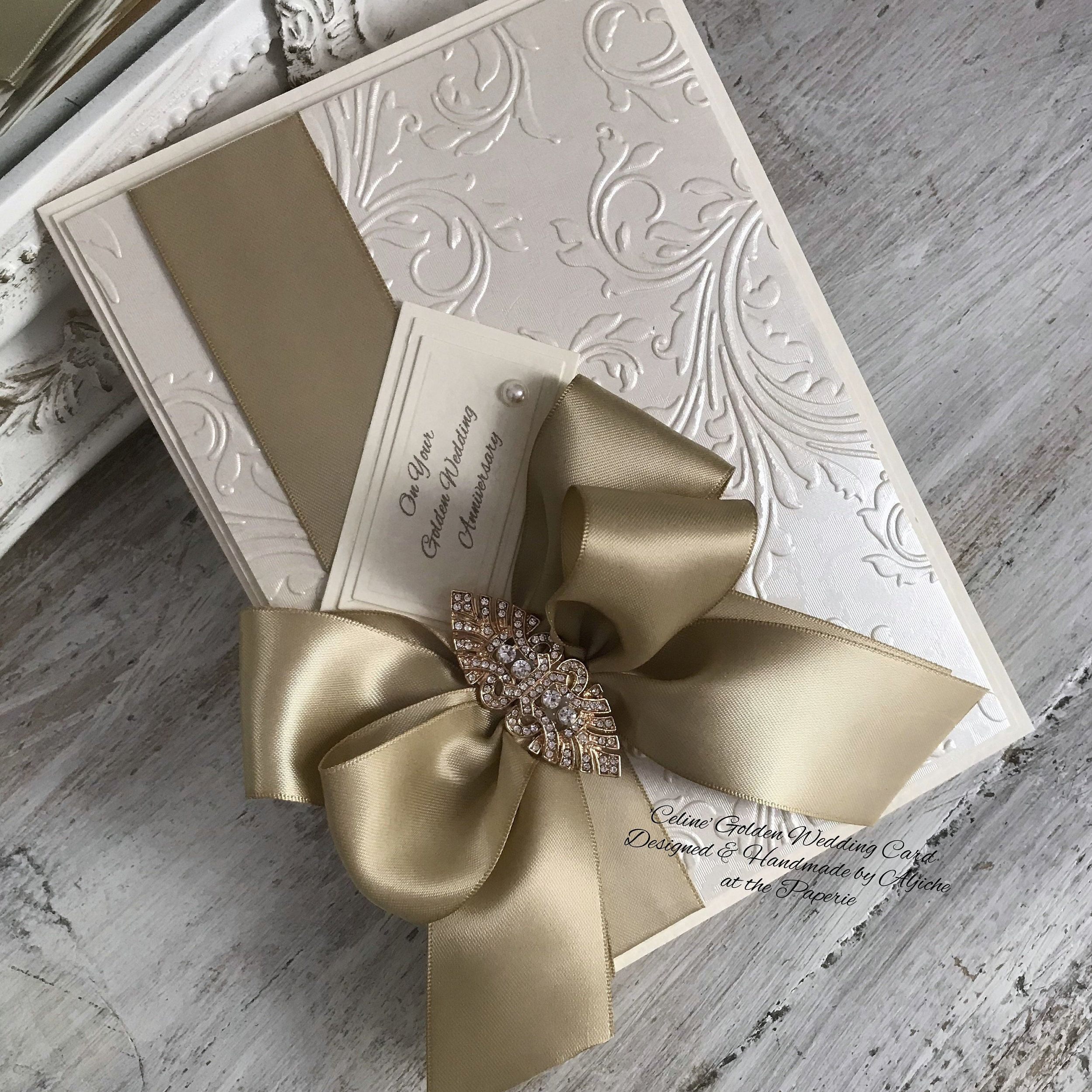 Golden Wedding Card, 50th Anniversary Card, Personalized