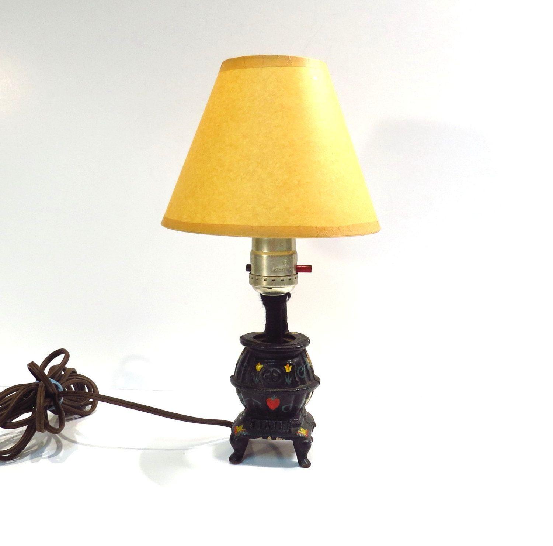 Cast Iron Pot Belly Stove Mini Lamp Vintage Decor Handmade Etsy Cast Iron Pot Belly Stove Mini Lamp Lamp