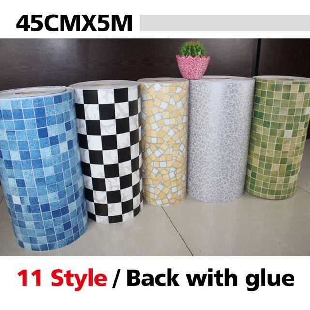 5 Meters Vinyl Pvc Mosaic Tile Self Adhesive Wallpaper For Bathroom Wc Kitchen Anti O Decoracao Da Parede Do Banheiro Banheiro Mosaico Papel De Parede Banheiro