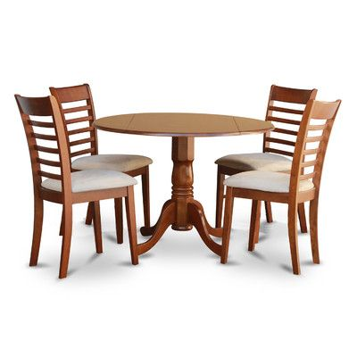 East West Furniture Dublin 5 Piece Drop Leaf Dining Table Set With Milan Microfiber Seat Chairs