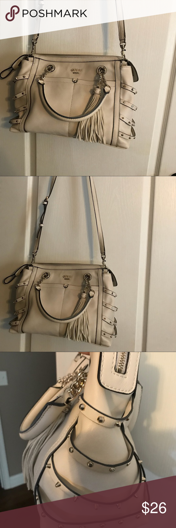 "aac50be1e701 New Guess Cream Leather Handbag. New Guess Cream Leather Handbag 14""Wide 10  1 2"" Deep 5 1 4"" Bottom Has Crossbody Strap. Smoke free home."