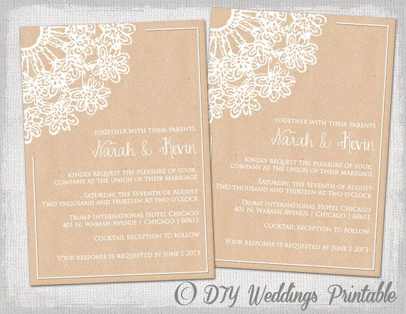 Diy Rustic Wedding Invitations Template Lace Doily Kraft Printable