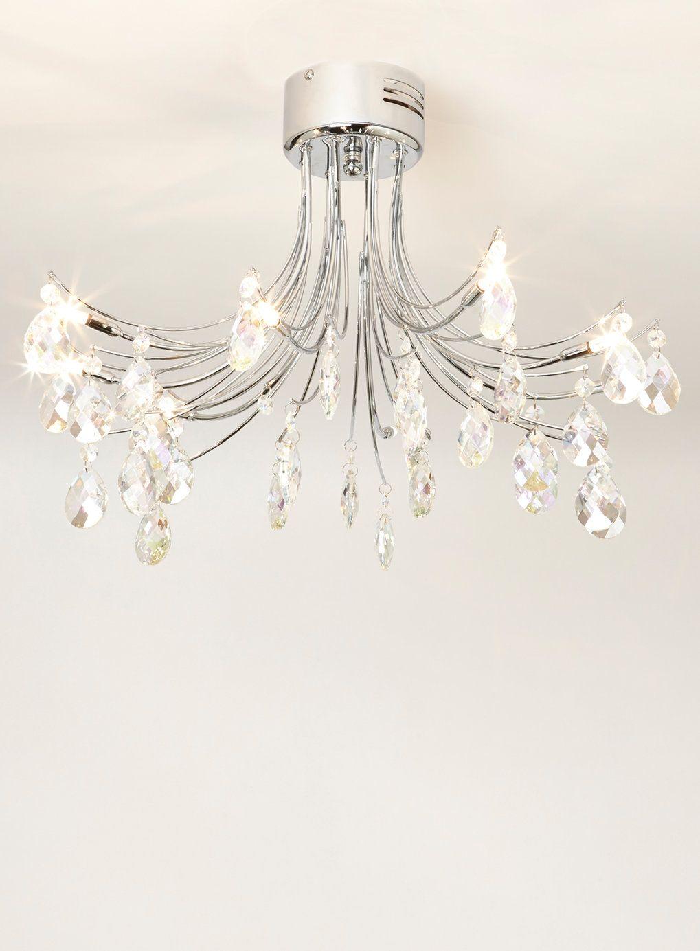 Bhs Ceiling Lights: Chrome Ina Flush Ceiling Light Fitting - BHS,Lighting