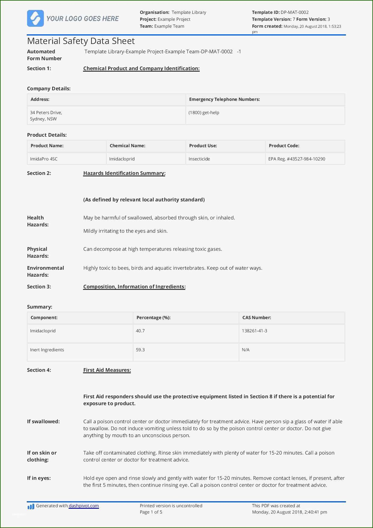 15 Foolproof Safety Data Sheet Template with Photos in