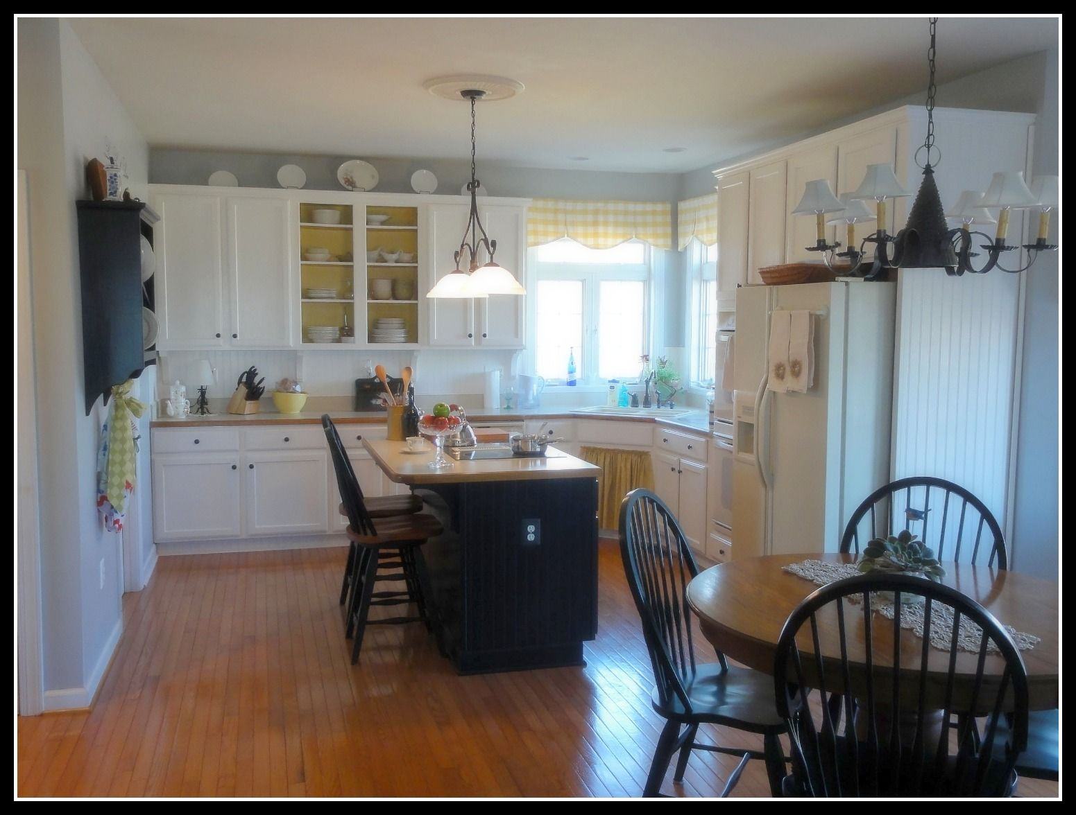 Doorless cabinets with a pop of color painted inside (With ...