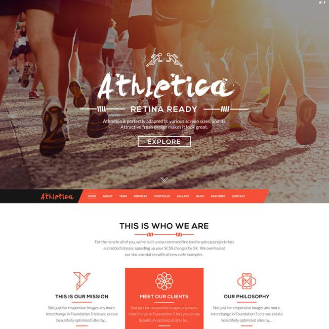 Athletica Retina Parallax OnePage WordPress Theme | Best WordPress ...
