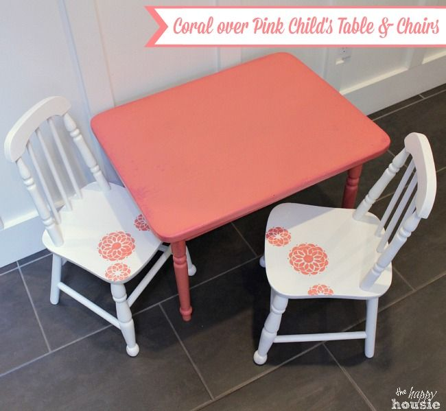 Coral Over Pink Chalky Paint Child\u0027s Table and Chair Set - The Happy Housie & Coral Over Pink Chalky Paint Child\u0027s Table and Chair Set | Chalky ...